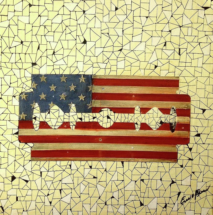 American Flag Painting - Untitled 3 by Emil Bodourov