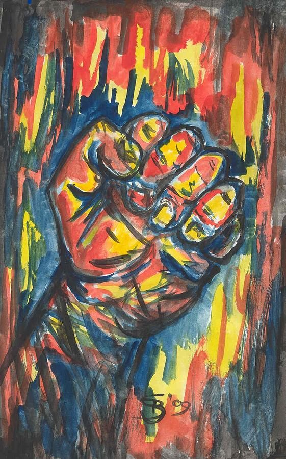 Clenched Fist Painting - Untitled by Stuart Bracewell