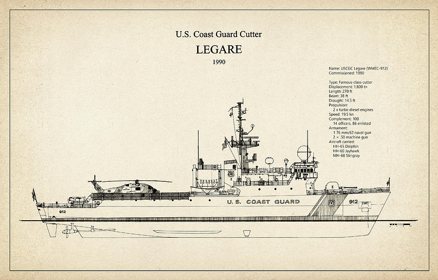 Coast Guard Digital Art - U.s. Coast Guard Cutter Legare by Jose Elias - Sofia Pereira