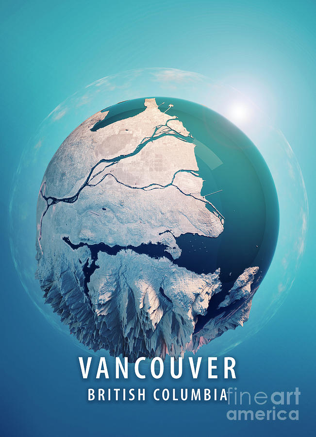 Vancouver Digital Art - Vancouver 3D Little Planet 360-Degree Sphere Panorama Blue by Frank Ramspott