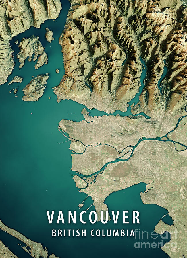 Vancouver Digital Art - Vancouver 3D Render Satellite View Topographic Map by Frank Ramspott