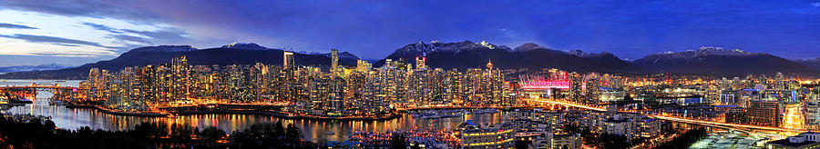 Vancouver Skyline Panorama 8829l4 Photograph - Vancouver Skyline Panorama by Wesley Allen Shaw