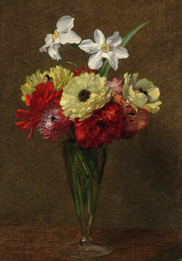 Vase Of Flowers Painting By Henri Fantin Latour