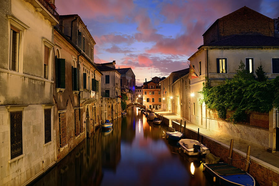 Venice Photograph - Venice Canal Night by Songquan Deng