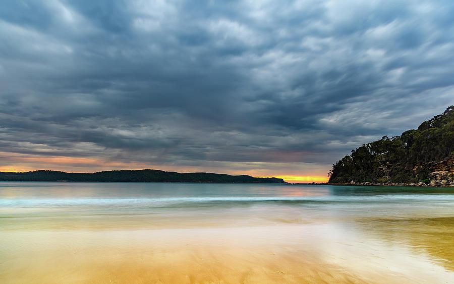 Australia Photograph - Vibrant Cloudy Sunrise Seascape by Merrillie Redden