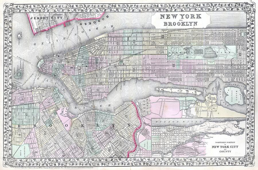 Vintage Map Of New York City Vintage Map of NYC and Brooklyn Drawing by CartographyAssociates