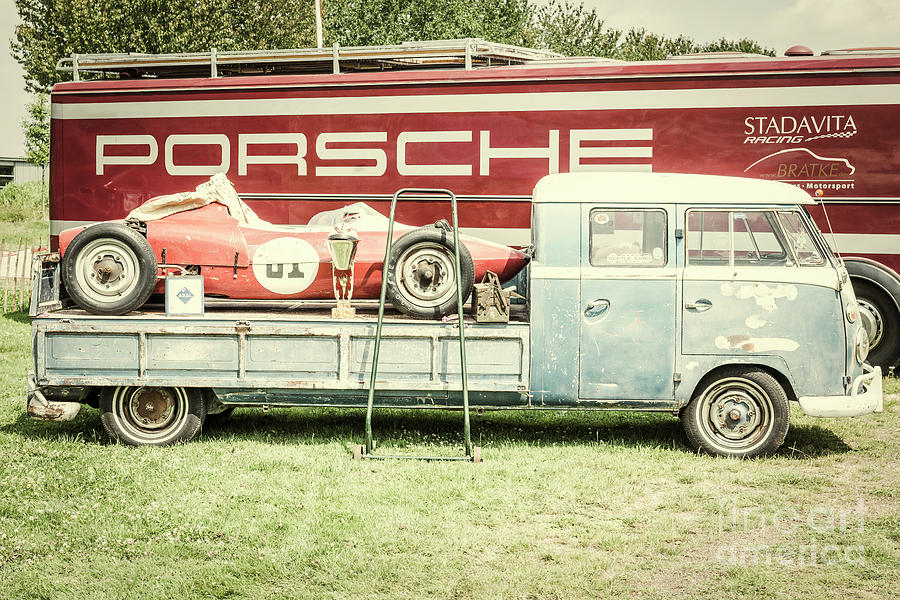 Volkswagen Transporter Flatbed With A Porsche Race Car Photograph by