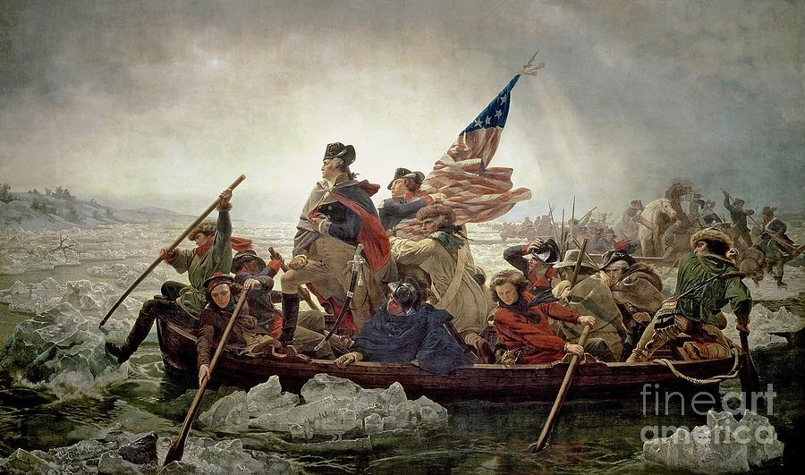 Ice Painting - Washington Crossing The Delaware River by Emanuel Gottlieb Leutze