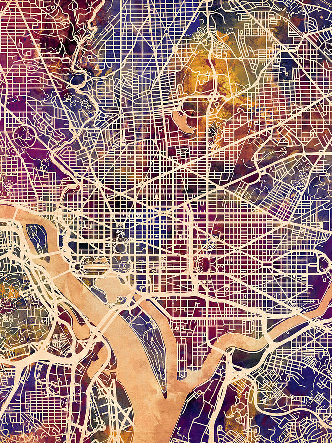 City Map Digital Art - Washington DC Street Map by Michael Tompsett