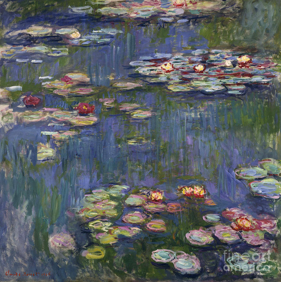 Monet Painting - Water Lilies, 1916 by Claude Monet