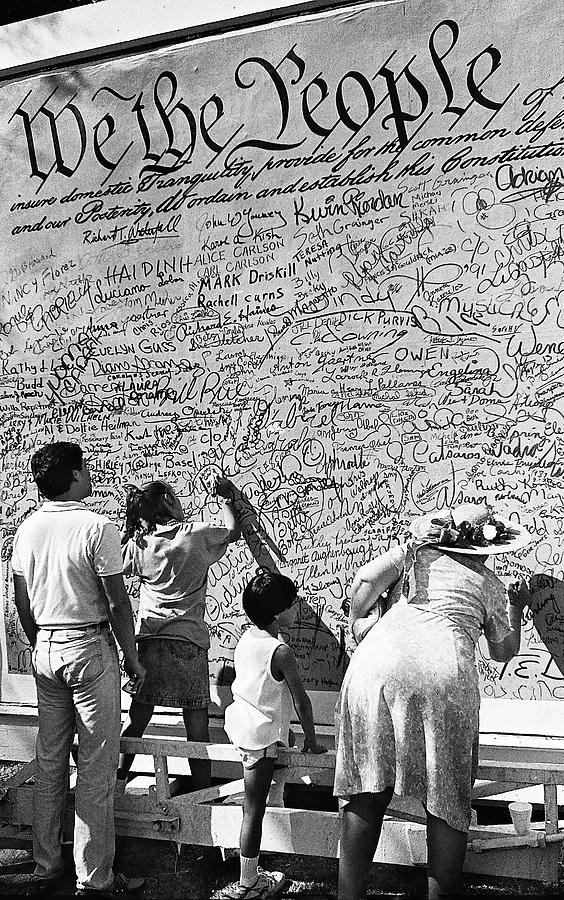 We The People Signing Bicentennial Of The Constitution Tucson Arizona 1987 Photograph by David Lee Guss