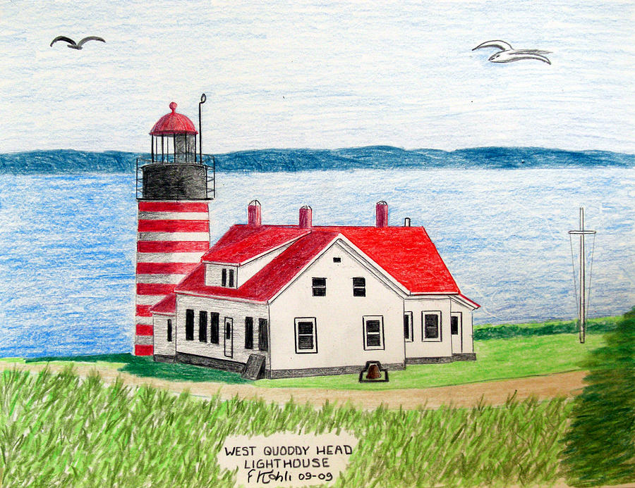 Pencil Artwork Drawing - West Quoddy Head Lighthouse by Frederic Kohli