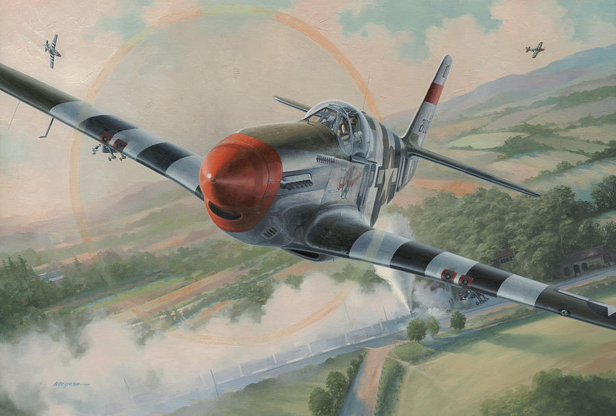 4th Fighter Group Painting - Whoo A train by Wade Meyers