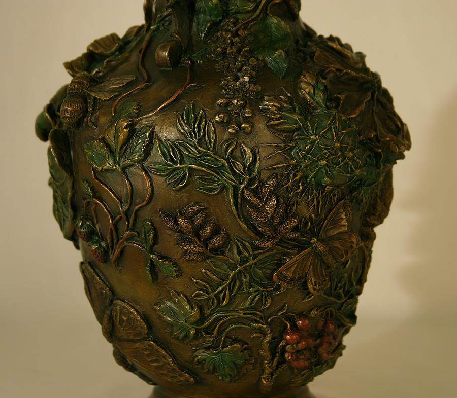Floral Sculpture - Wildflower Vase Detail by Dawn Senior-Trask