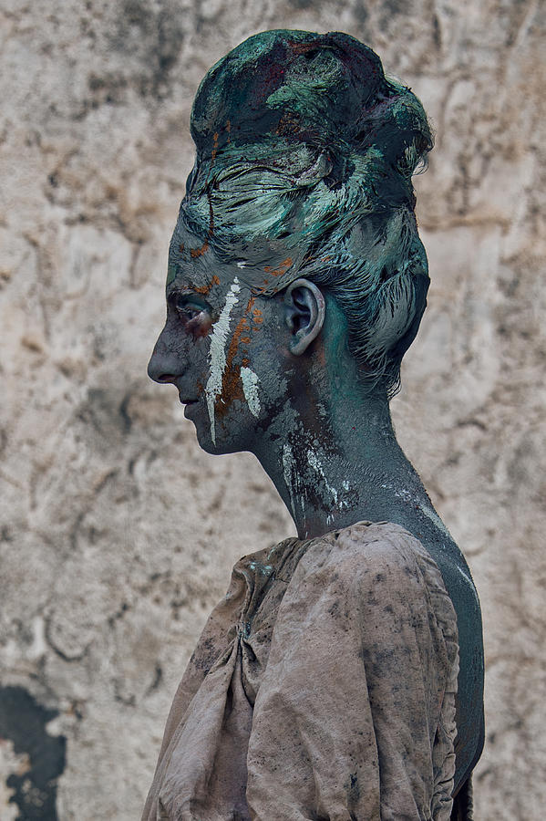 Antik Photograph - Woman In Bronze Statue Look With Patina Body Paint by Veronica Azaryan