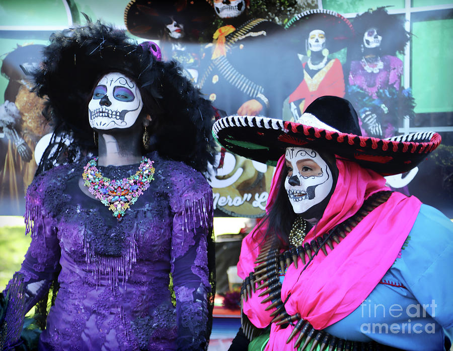 Dia De Los Muertos Photograph - 2 Women Day Of The Dead  by Chuck Kuhn