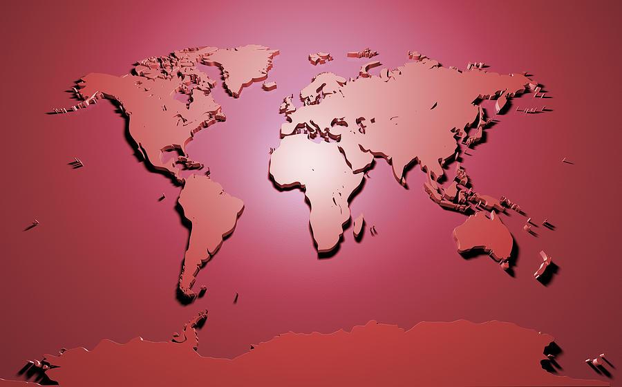 World Map In Red Digital Art By Michael Tompsett