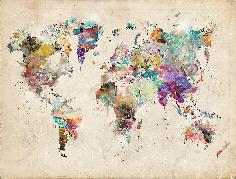 World Map Watercolor Painting By Bleu Bri