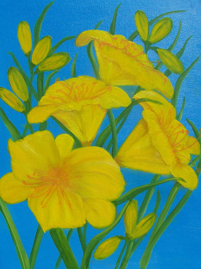 Yellow Flowers Painting - Yellow Day Lily by Elizabeth Janus