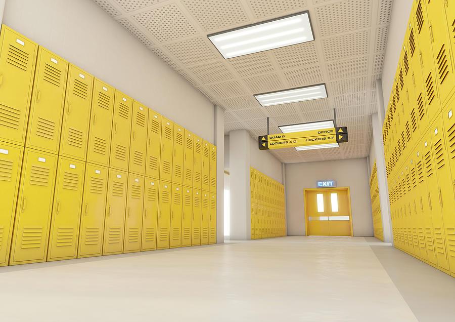 Locker Digital Art - Yellow School Lockers Light 2 by Allan Swart