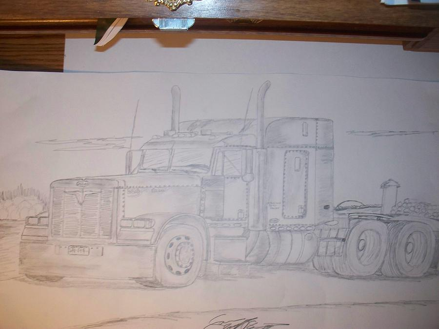 Truck Drawing - 2000 Peterbilt 379 Short Hood by Sam Wipf