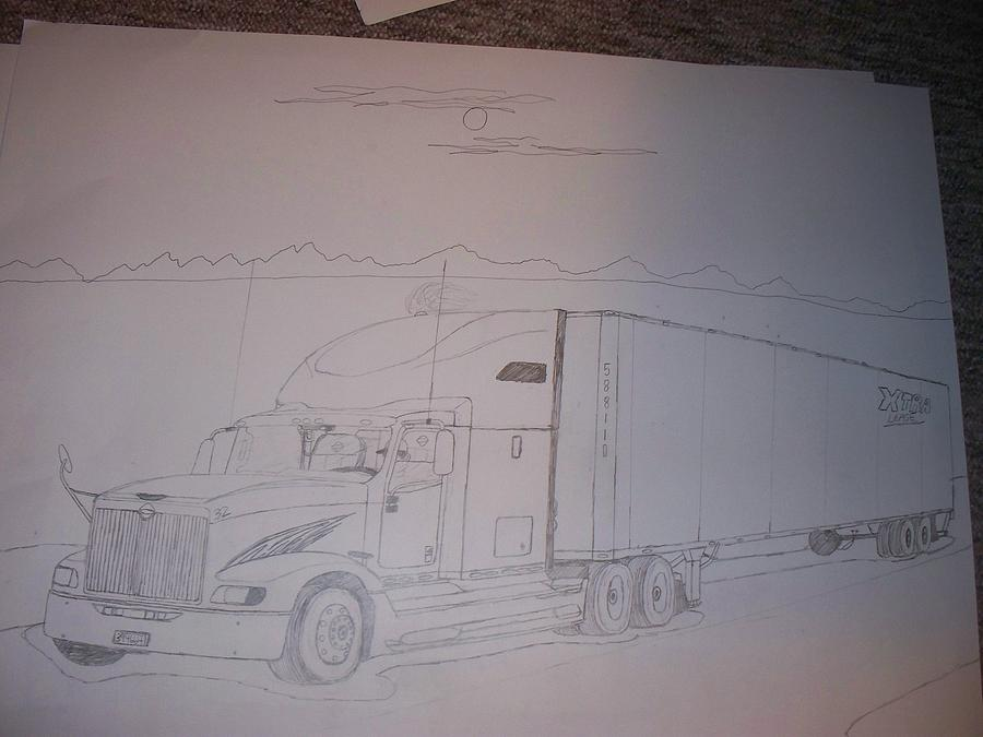 Truck Drawing - 2005 International 9400 Eagle by Sam Wipf