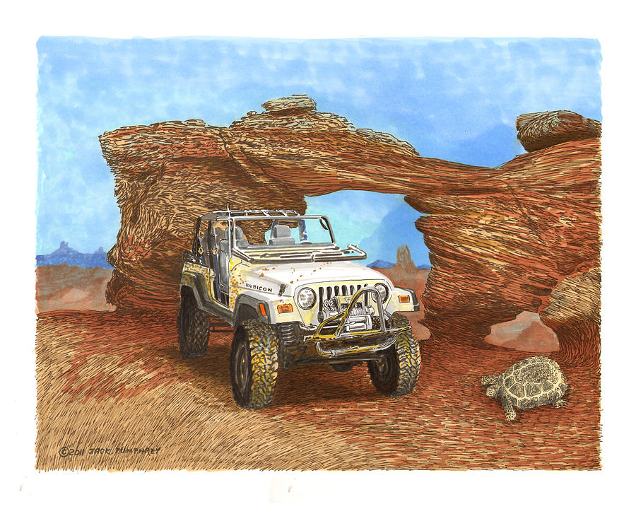 2005 Jeep Rubicon 4 Wheeler Painting by Jack Pumphrey