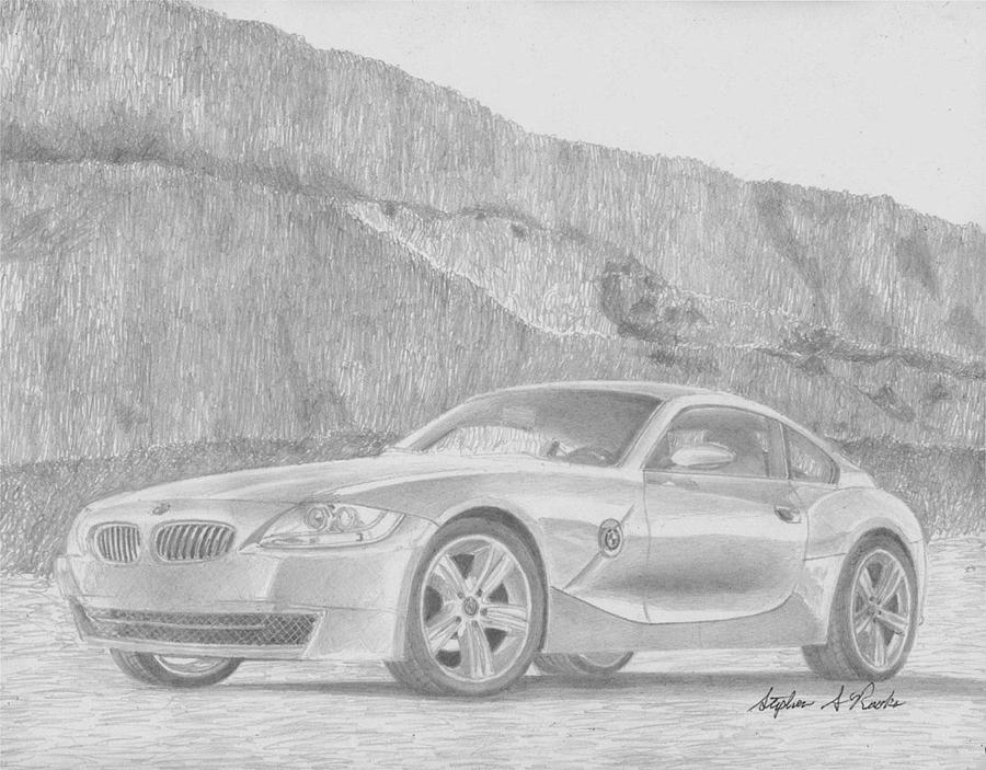 2007 Bmw Z4 Coupe Sports Car Art Print Drawing By Stephen Rooks