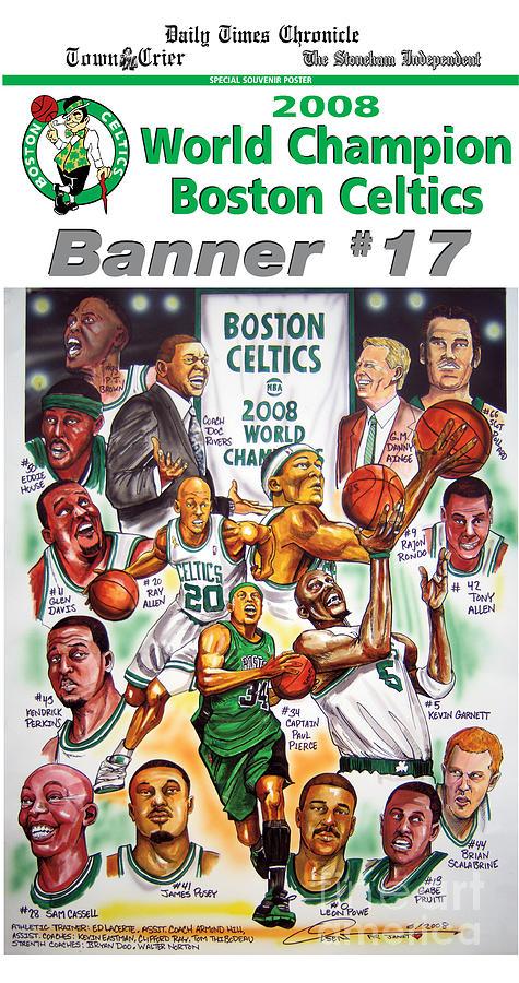 Nba Drawing - 2008 Boston Celtics Team Poster by Dave Olsen