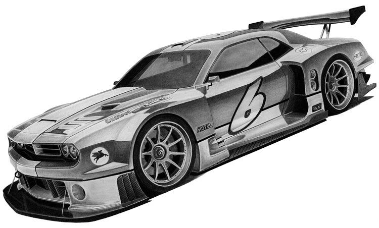 Racing Drawing - 2009 Bo Zolland Dodge Challenger by Lyle Brown