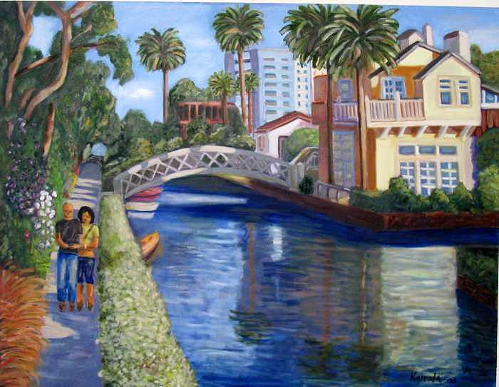 Venice Canals - California Painting by William Kairala