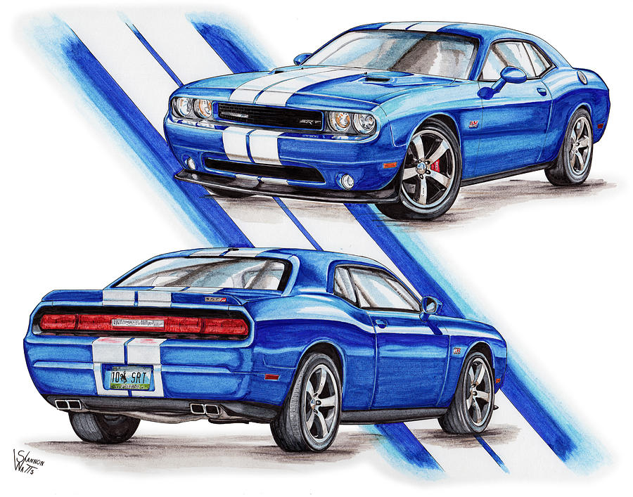 2011 Dodge Challenger SRT Drawing by Shannon Watts (900 x 707 Pixel)