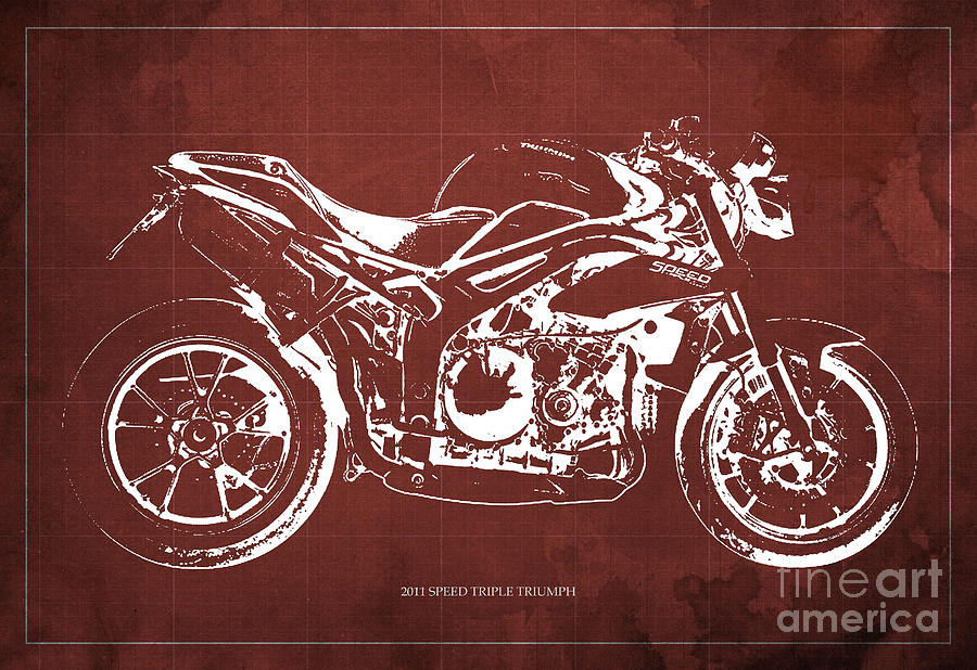2011 Digital Art - 2011 Speed Triple Triumph Motorcycle Blueprint Red Background Artwork Christmas Gift For Men by Drawspots Illustrations