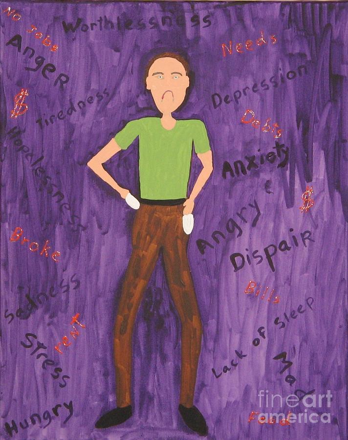Debts Painting - 2011 Worried Man by Gregory Davis