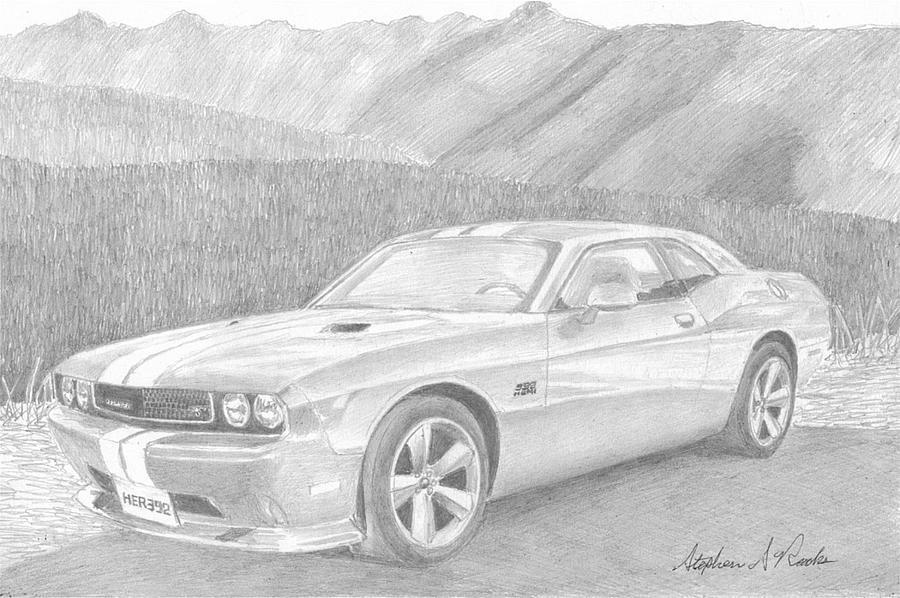 2012 Dodge Challenger Srt8 Classic Car Art Print Drawing by Stephen ...