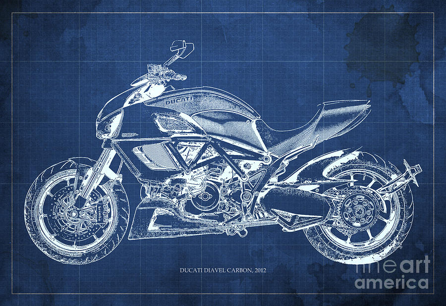 2012 ducati diavel carbon motorcycle blueprint blue background 2012 painting 2012 ducati diavel carbon motorcycle blueprint blue background by pablo franchi malvernweather Gallery