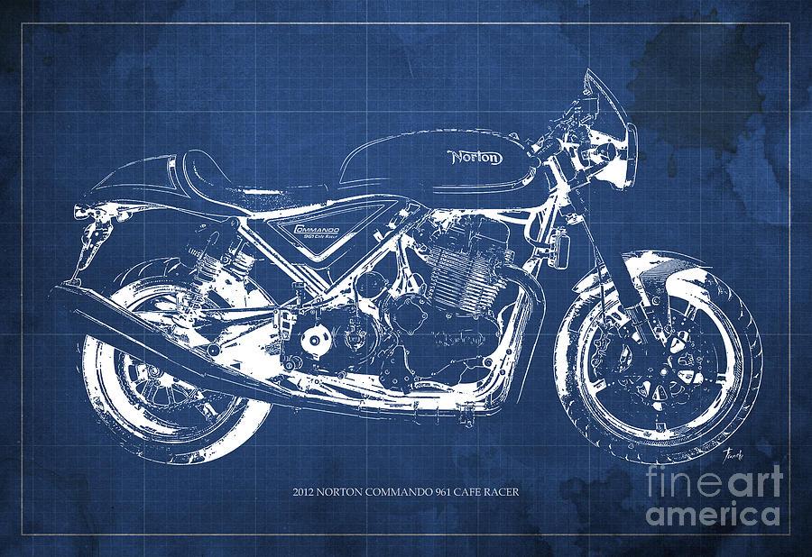 2012 norton commando 961 cafe racer motorcycle blueprint blue 2012 painting 2012 norton commando 961 cafe racer motorcycle blueprint blue background by pablo malvernweather Images