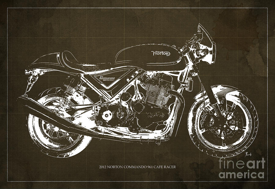2012 Norton Commando 961 Cafe Racer Motorcycle Blueprint - Brown Background