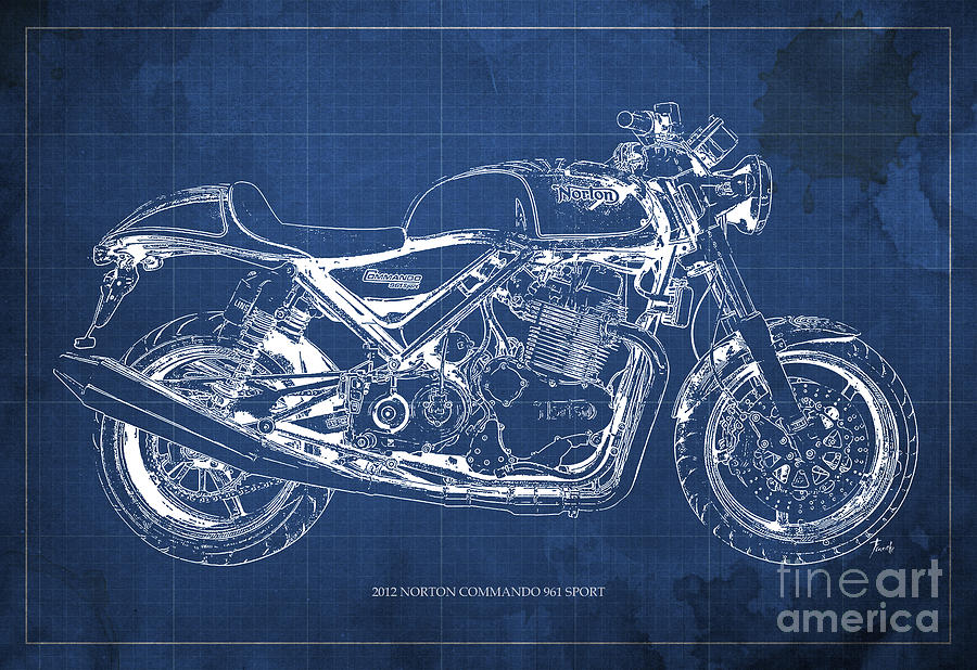 2012 norton commando 961 sport blueprint classic motorcycle blue 2012 painting 2012 norton commando 961 sport blueprint classic motorcycle blue background by pablo franchi malvernweather Choice Image
