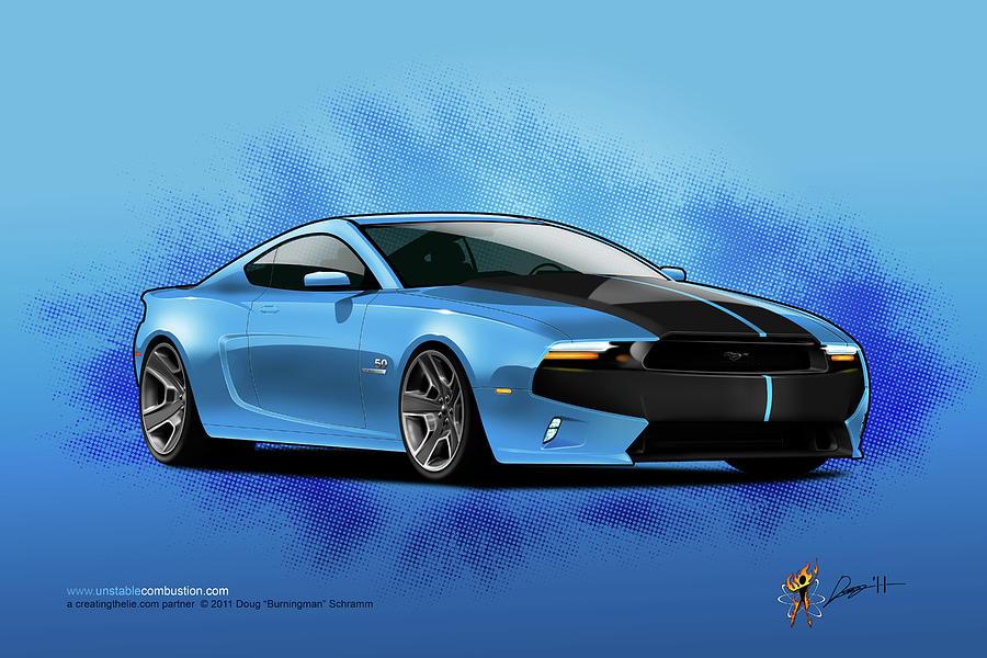 Cars Digital Art - 2014 Mustang  by Doug Schramm