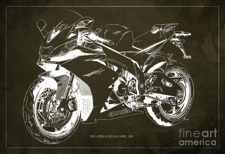2015 Digital Art - 2015 Aprilia Rsv4 R Blueprint Brown Background by Drawspots Illustrations