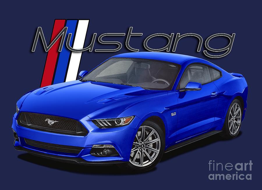 2015 Digital Art - 2015 Blue Mustang by Paul Kuras