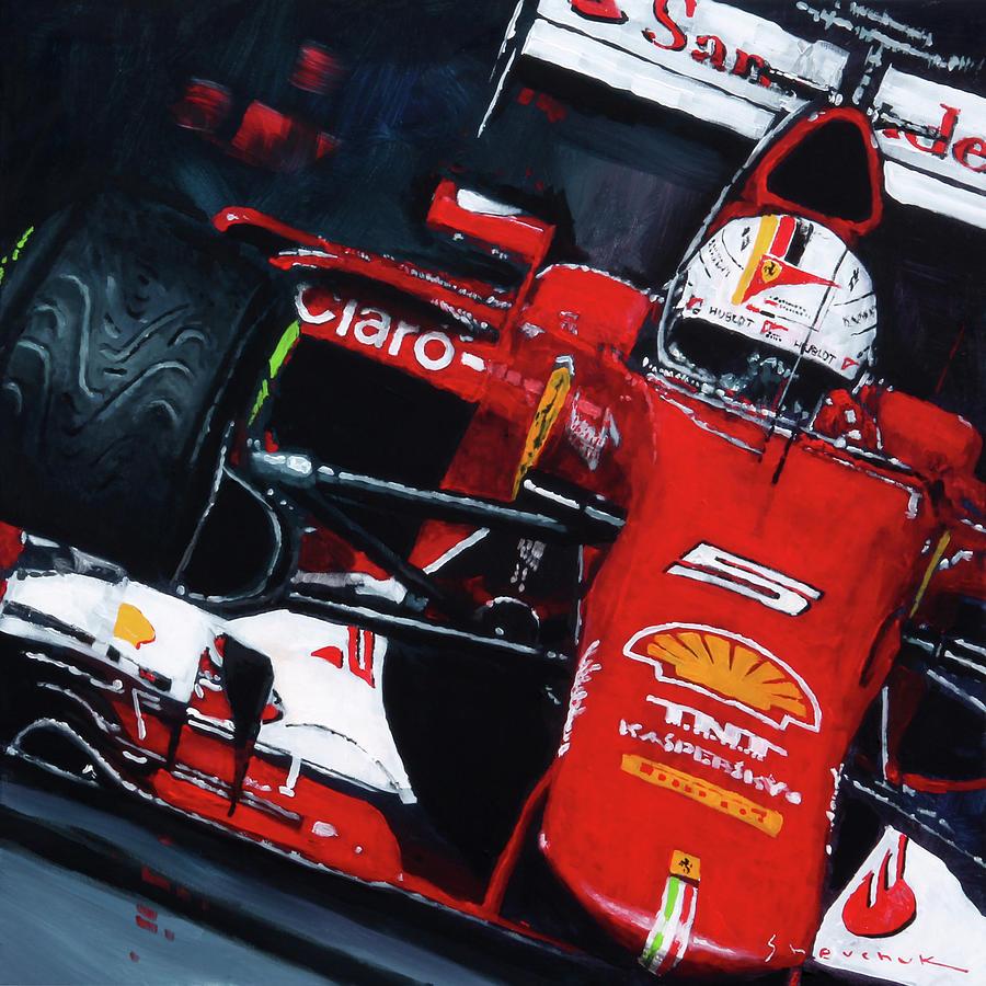 Oil Painting - 2015 F1 Ferrari Sf15-t Vettel by Yuriy Shevchuk