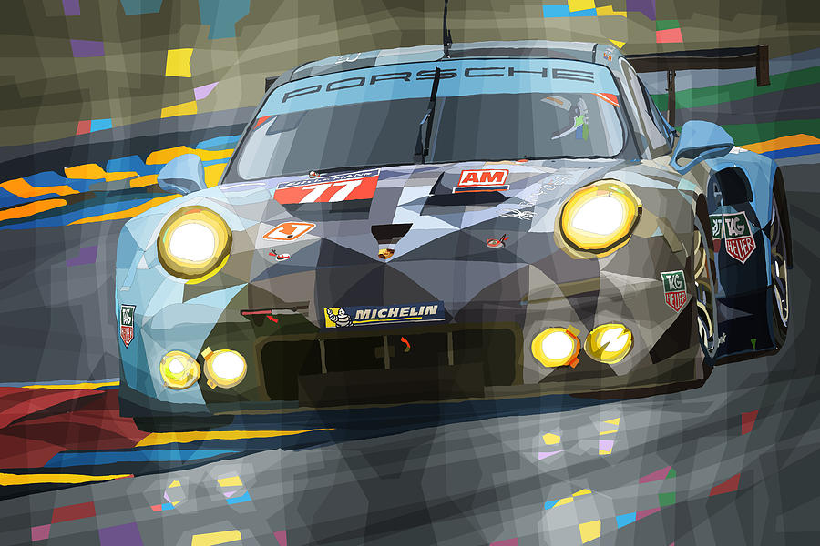 Automotive Digital Art - 2015 Le Mans Gte-am Porsche 911 Rsr by Yuriy Shevchuk