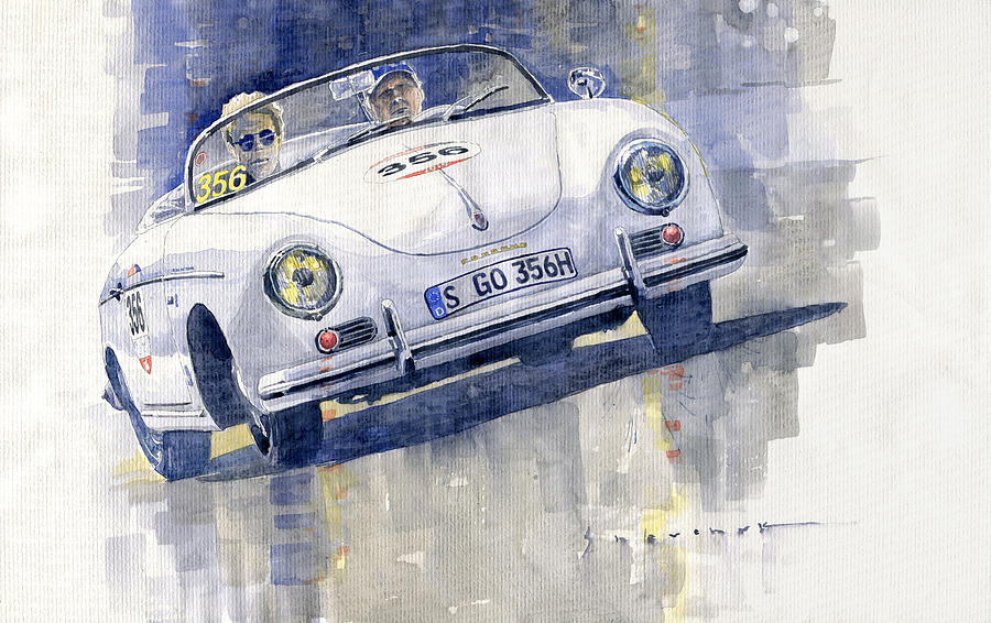 Automotive Painting - 2015 Mille Miglia Porsche 356 1500 Speedster by Yuriy Shevchuk