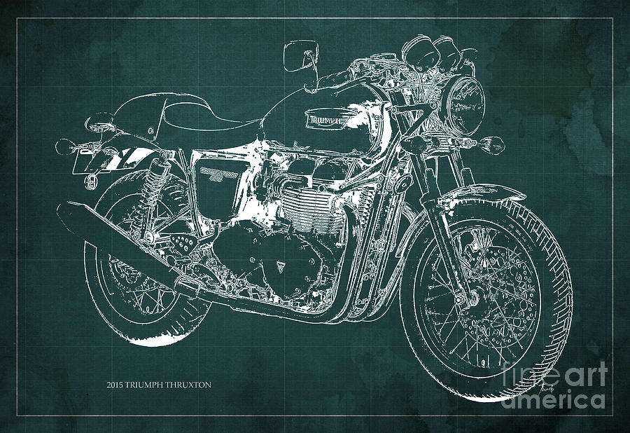 2015 Digital Art - 2015 Triumph Thruxton Blueprint Green Background by Drawspots Illustrations