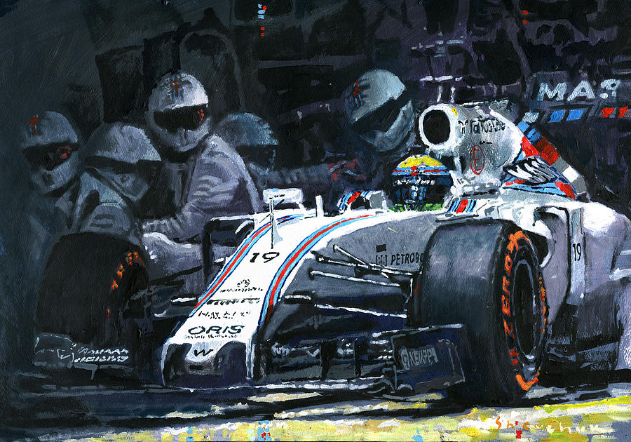 Painting Painting - 2015 Williams Fw37 F1 Pit Stop Spain Gp Massa  by Yuriy Shevchuk