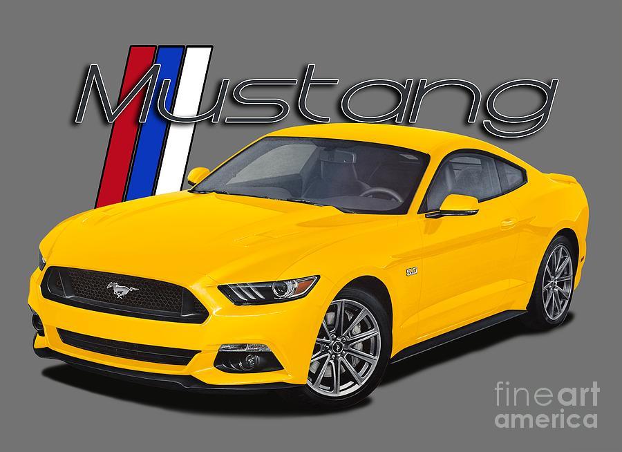 2015 Digital Art - 2015 Yellow Mustang by Paul Kuras