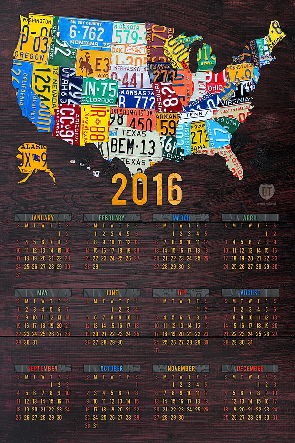 2016 calendar license plate map of the usa recycled wall art mixed 2016 mixed media 2016 calendar license plate map of the usa recycled wall art by gumiabroncs Gallery