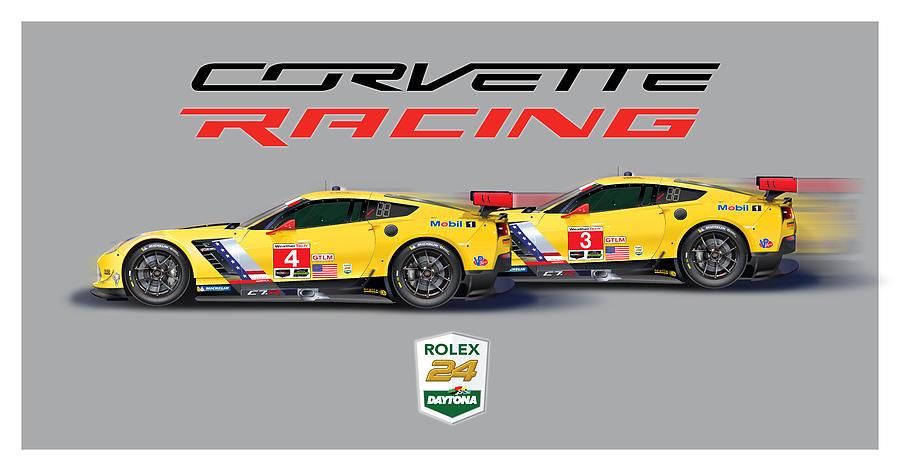 2016 Daytona 24 Hour Corvette Poster Digital Art by Alain Jamar